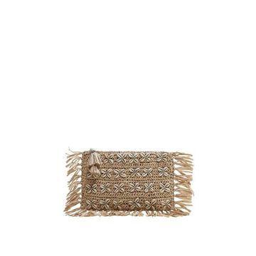 Violeta BY MANGO - Seashell raffia bag ecru - One size - Plus sizes