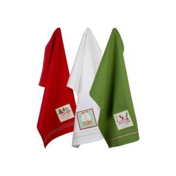 Design Imports Assorted Cozy Christmas Embellished Dishtowel Set