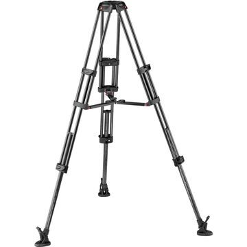 MAN-MVTTWINMCUS CF Twin Leg with Middle Spreader Video Tripod - 100 & 75mm Bowl, Black