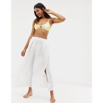 Seafolly linen blend split beach pants in white