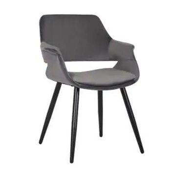 Porthos Home Fulco Velvet Dining Chair, Durable Black Steel Legs