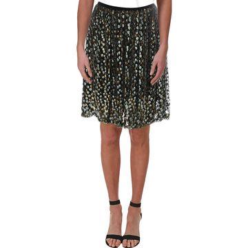 Elie Tahari Womens Nicolette Silk Metallic A-Line Skirt