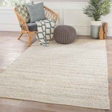 Solis White/Blue Natural Jute Stripe Area Rug (8' x 10') - 7'10