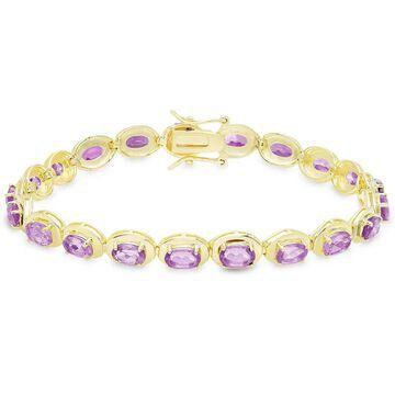 Dolce Giavonna Gold Over Sterling Silver Oval Gemstone Link Bracelet