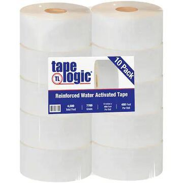 Tape Logic #7700 Reinforced Water Activated Tape, 3 x 450, White, 10/Case (T9077700W) | Quill