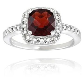 Glitzy Rocks Sterling Silver Square Cushion-cut Gemstone and Diamond Accent Ring (January - Red - Red/Yellow - 4 - Garnet)