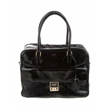 Patent Leather Convertible Shoulder Bag Black