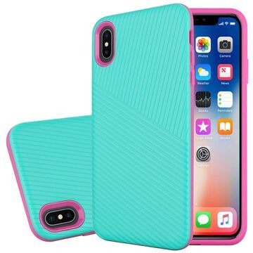 Insten Embossed Lines Hard Snap-in Case Cover For Apple iPhone XS Max - Teal/Hot Pink