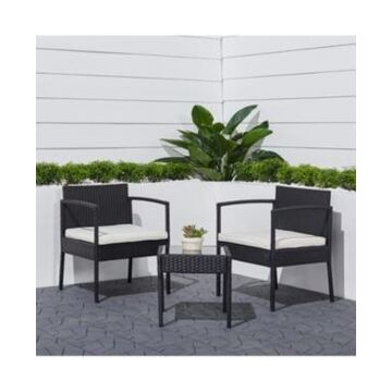 Vifah Tierra 3-Piece Classic Outdoor Wicker Coffee Lounger Set with Cushion