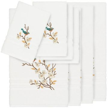 Authentic Hotel and Spa Turkish Cotton Blue Bird Embroidered White 8-piece Towel Set