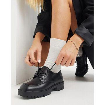 London Rebel lace up on square toe flat shoes-Black