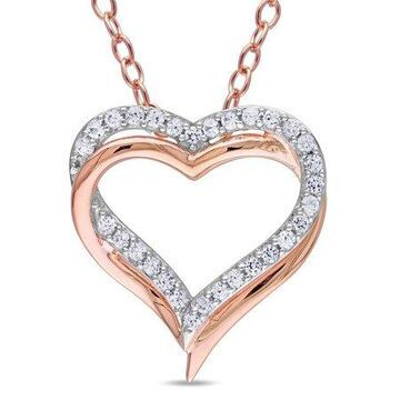 5/8 Carat T.G.W. Created White Sapphire Two-Tone Sterling Silver Heart Gemstone Necklace