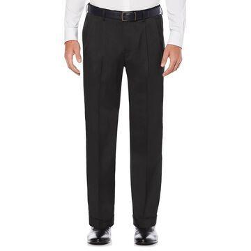 Men's Savane Straight-Fit Stretch Crosshatch Pleated Dress Pants