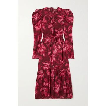Zimmermann - Ladybeetle Gathered Floral-print Silk-chiffon Midi Dress - Burgundy
