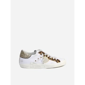 Philippe Model Leather Sneakers With Animalier Details