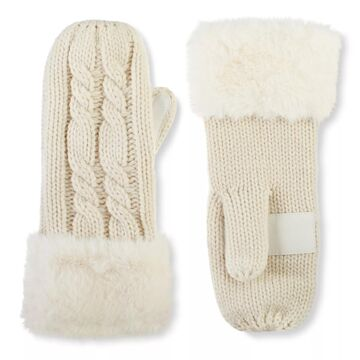 Women's isotoner Lined Cable Knit Mittens with Faux Fur Cuff