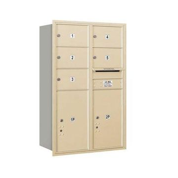 Salsbury Industries Recessed USPS 8 Door Rear Load 4C Horizontal Mail Center with 2 Parcel Locker