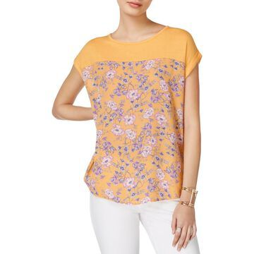 Hippie Rose Womens Juniors Mixed Media Floral Casual Top