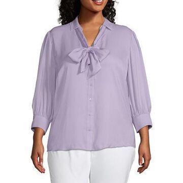 Worthington Womens 3/4 Sleeve Bow Blouse - Plus