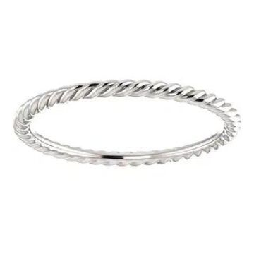 Auriya Petite Ultra-Thin Twisted Rope Stackable 10k Gold Ring (White - 8)