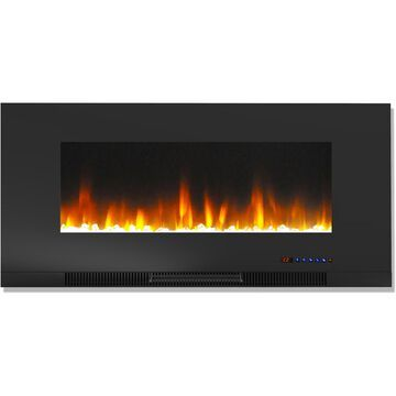 Cambridge 42 In. Wall-Mount Electric Fireplace in Black with Multi-Color Flames and Crystal Rock Display