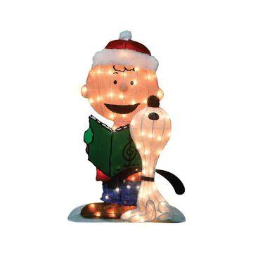 Peanuts 9429358 32 in. Product Works Pre-Lit Charlie Brown & Snoopy Caroling Yard Art, Multicolored - Metal