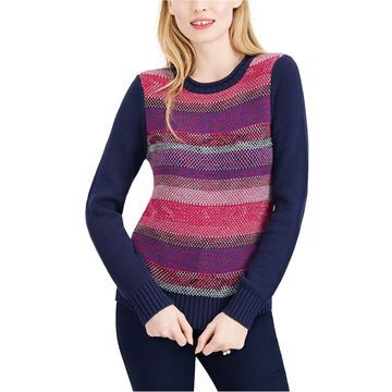 maison Jules Womens Striped Pullover Sweater