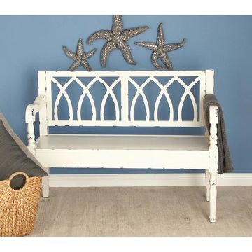 Farmhouse Distressed White Wooden Bench by Studio 350