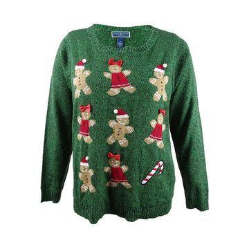 Karen Scott Women's Plus Size Holiday Gingerbread Sweater (2X, Marine Green) - Marine Green - 2X