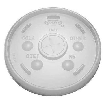 DART 16SL Lid for 12 to 24 oz. Hot/Cold Cup, Flat, Identification Buttons,