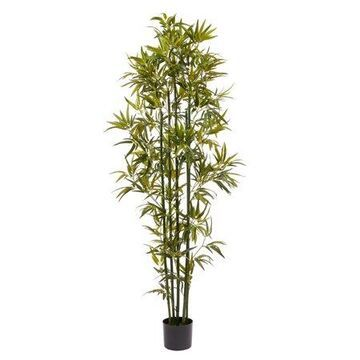 Pure Garden Artificial Bamboo Tall Faux Potted Indoor Floor Plant Large and Lifelike (Green Trunk) 6'