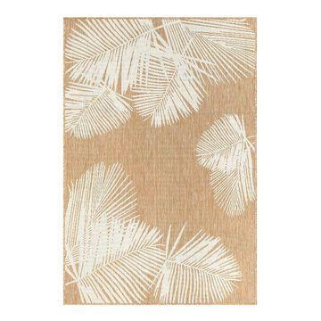 Liora Manne Carmel Palm Indoor Outdoor Rug, Beig/Green, 8Ft Sq