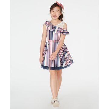 Big Girls Ruffled One-Shoulder Skater Dress & Bow Clip