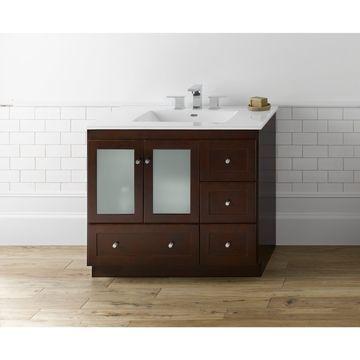 Ronbow Shaker 36-inch Bathroom Vanity Set in Dark Cherry with Ceramic Bathroom Sink Top in White