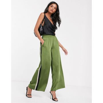 Lost Ink wide leg satin pants with side stripes-Green