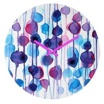 DENY Designs CMYKaren Abstract Watercolor 12-Inch Round Wall Clock