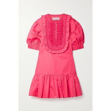 SELF-PORTRAIT - Crochet-trimmed Ruffled Cotton-poplin Mini Dress - Pink