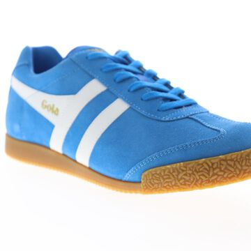 Gola Harrier Suede Mens Blue Suede Lace Up Low Top Sneakers Shoes