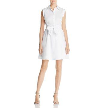Cupio Womens Tie-Front Sleeveless Shirtdress