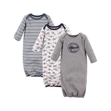 Hudson Baby Boys' Bibs Aviation - Gray Aviation Gown Set - Newborn