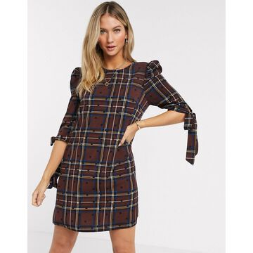 Liquorish mini dress in brown check