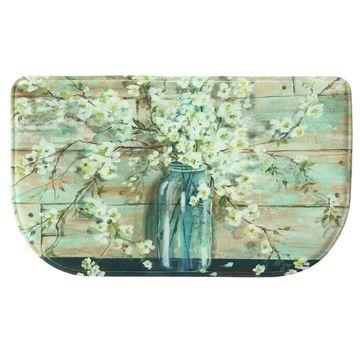 Bacova Guild Blossoms In Jar Memory Foam Wedge Kitchen Mat