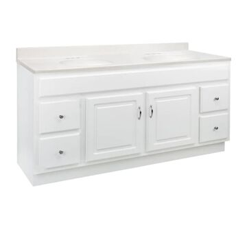 Design House Concord 61-in White Double Sink Bathroom Vanity with White On White Cultured Marble Top | 592766