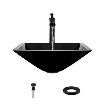 MR Direct Black Tempered Glass Vessel Square Bathroom Sink with Faucet (Drain Included)