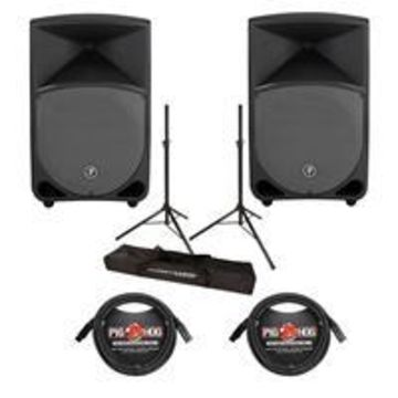 Mackie Thump 12& Powered 2-Loudspeaker 2CH Mixer Package with Stands, and 20' Cables