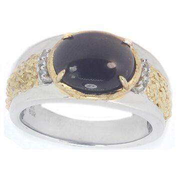 Michael Valitutti Palladium Silver Cat's Eye Scapolite and White Sapphire Ring