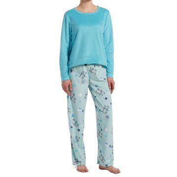 Sueded Fleece Top & Printed Pants Pajama Set