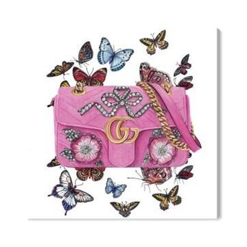 Oliver Gal Doll Memories - Butterfly Bag Canvas Art - 24