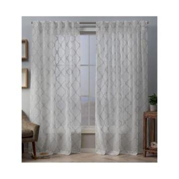 "Exclusive Home Aberdeen Sheer Woven Trellis Embellished Hidden Tab Top Curtain Panel Pair, 54"" x 84"""