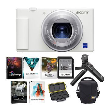 Sony ZV-1 Camera for Content Creators and Vloggers (White) with Vlogger Accessory Kit